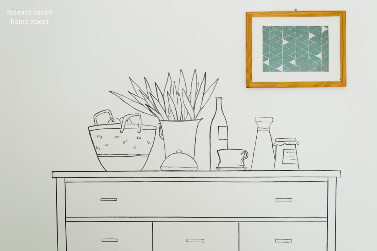 Disegno su muro per Home Staging
